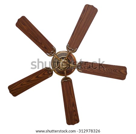isolated wooden vintage ceiling fan with clipping path - Vintage Ceiling Fans
