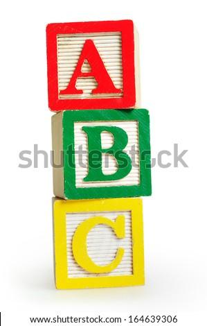 Isolated word ABC on white background - stock photo