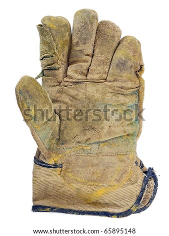 Isolated work gloves, stained with paint - stock photo