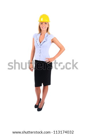 Isolated Worker Woman With Helmet Standing - stock photo