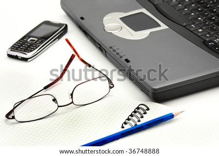 Isolated working office image - stock photo