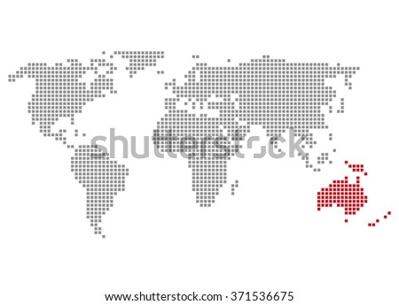 Isolated world map made pixels showing stock illustration 371536675 isolated world map made of pixels showing australia gumiabroncs Image collections