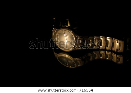 Isolated Wrist Watch - Black Background - stock photo