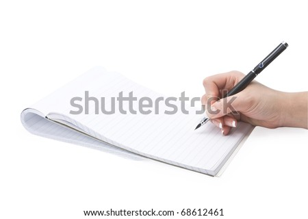 isolated writing in a notebook hand on a white background