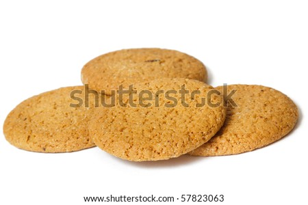 Isolated yellow cookies over white backgrond. Horizontal image