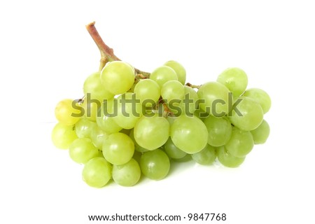 Isolated yellow grape cluster on white background