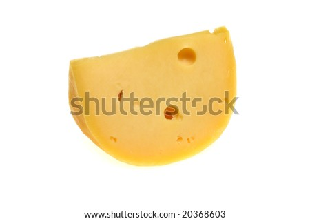 Isolated yellow hard cheese piece. Cuisine and food.
