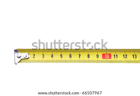 isolated yellow measuring ruler tape meter on white