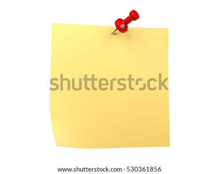 Isolated yellow note sticker and red pin. 3D illustration