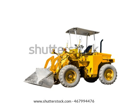 Isolated yellow old bulldozer on white with clipping path