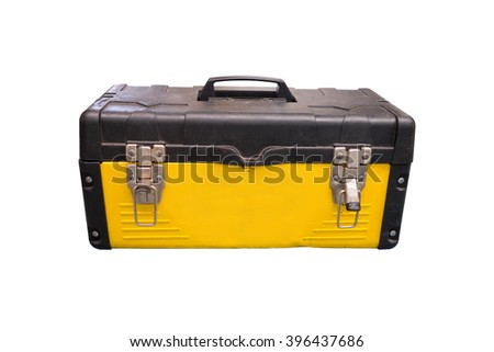 Isolated yellow tool box for technician on white background - stock photo
