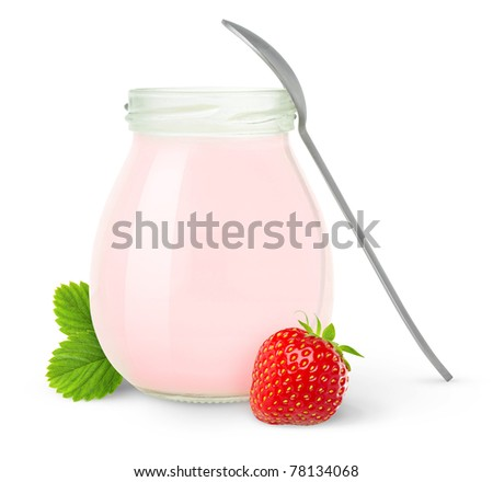 Isolated yogurt. Open glass jar of fruit yogurt with a spoon and fresh strawberry isolated on white background