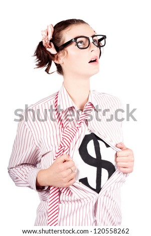 Isolated Young Brave Strong Business Woman Thinking About Financial Growth In A Money Leadership Concept