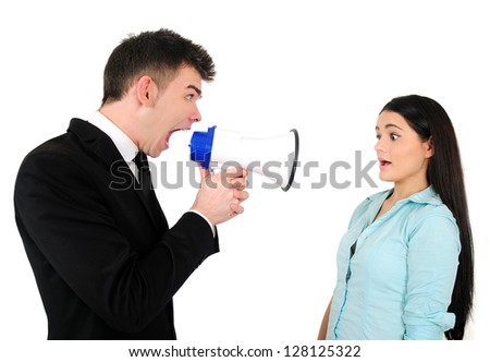 Isolated young business couple with loudspeaker