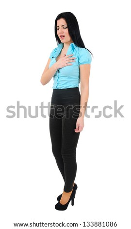 Isolated young business girl heart pain - stock photo