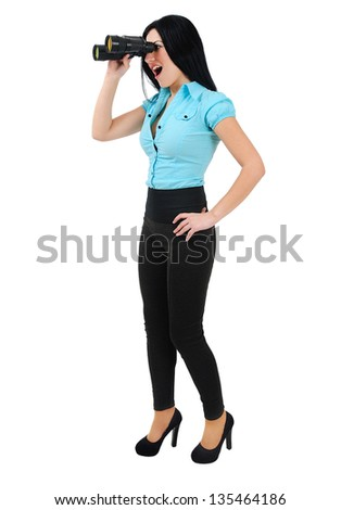 Isolated young business girl with binocular