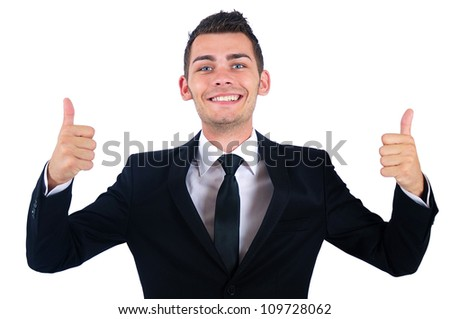 Isolated young business man approval - stock photo