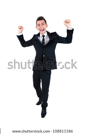 Isolated young business man happy