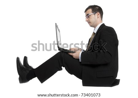 Isolated young business man on white - stock photo