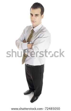 Isolated young business man profile