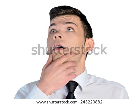 Isolated young business man think - stock photo