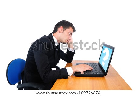 Isolated young business man tired