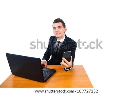 Isolated young business man working