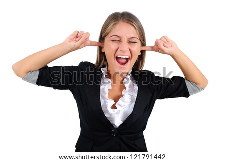 Isolated young business woman deaf - stock photo