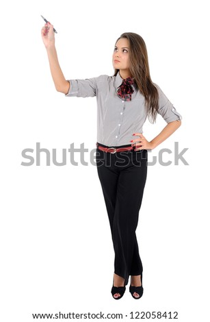 Isolated young business woman drawing - stock photo