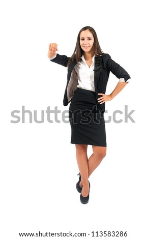 Isolated young business woman leaning