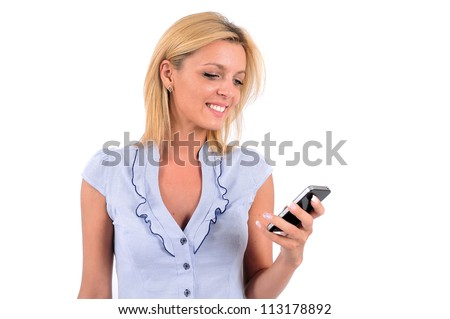 Isolated Young Business Woman Looking At Phone - stock photo