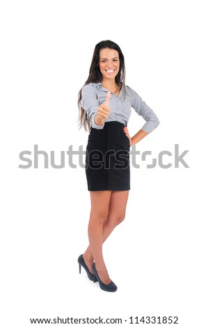Isolated young business woman ok sign - stock photo