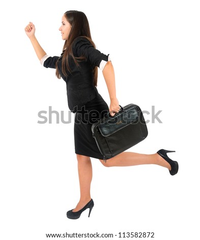 Isolated young business woman running with briefcase - stock photo