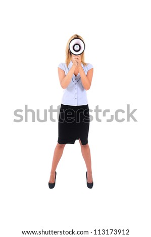 Isolated Young Business Woman Screaming with Loudspeaker - stock photo