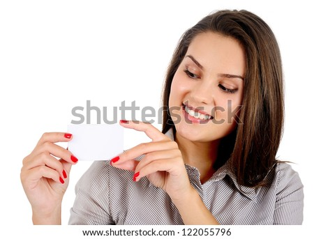 Isolated young business woman showing card - stock photo