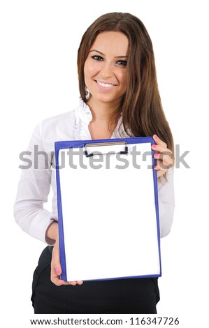 Isolated young business woman showing clipboard