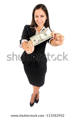 Isolated young business woman showing money - stock photo
