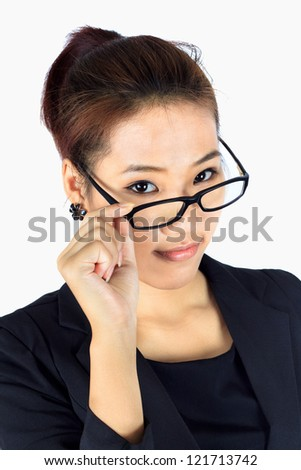 Isolated Young  Business woman takes an eyeglasses off and look