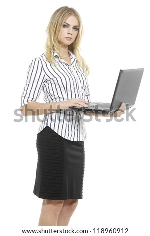 Isolated Young Business Woman Using Notebook on white background - stock photo