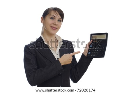 isolated young  business woman with a calculator