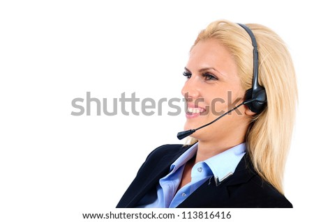 Isolated young business woman with headphone