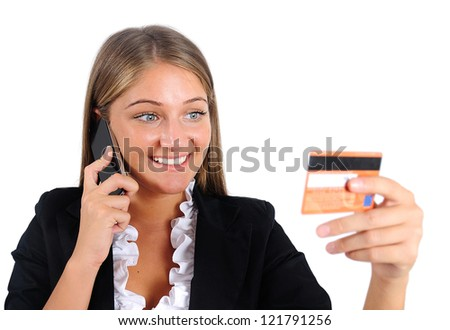 Isolated young business woman with phone - stock photo