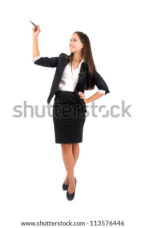 Isolated young business woman writing something - stock photo