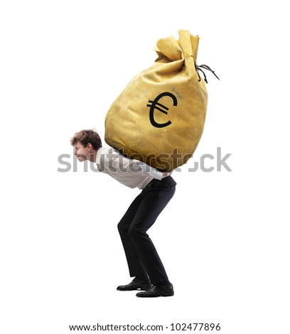 Isolated young businessman carrying a money-bag on his shoulders - stock photo