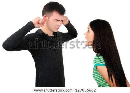 Isolated young casual couple argue - stock photo