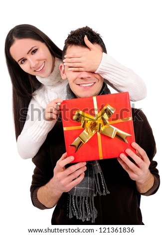 Isolated young casual couple surprising - stock photo