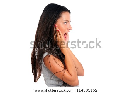 Isolated young casual woman amazed - stock photo
