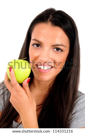 Isolated young casual woman eating apple - stock photo