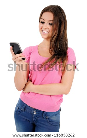 Isolated young casual woman holding phone