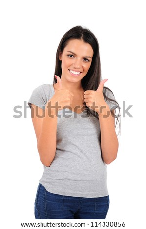 Isolated young casual woman showing ok sign - stock photo
